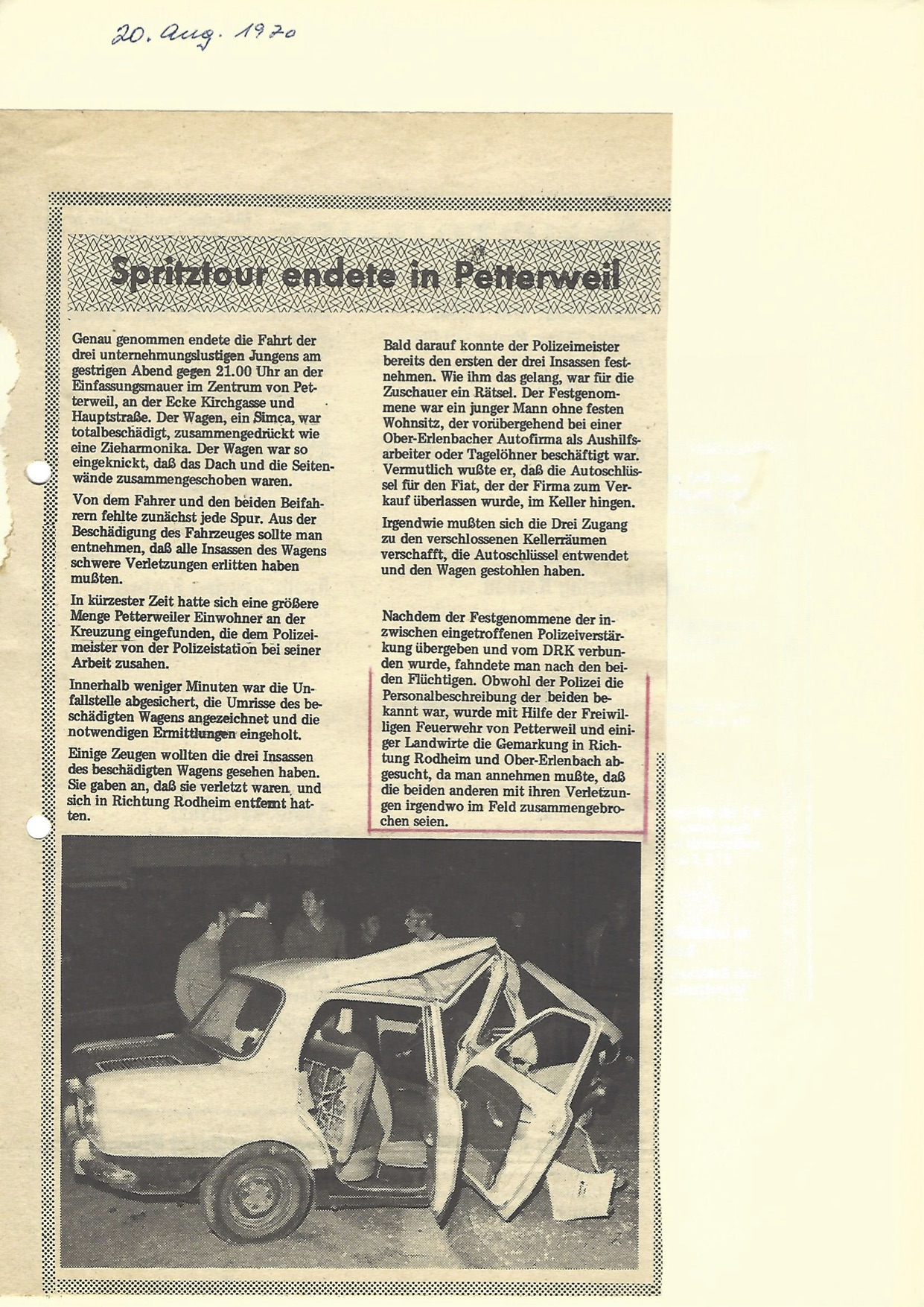 Unfall 1970