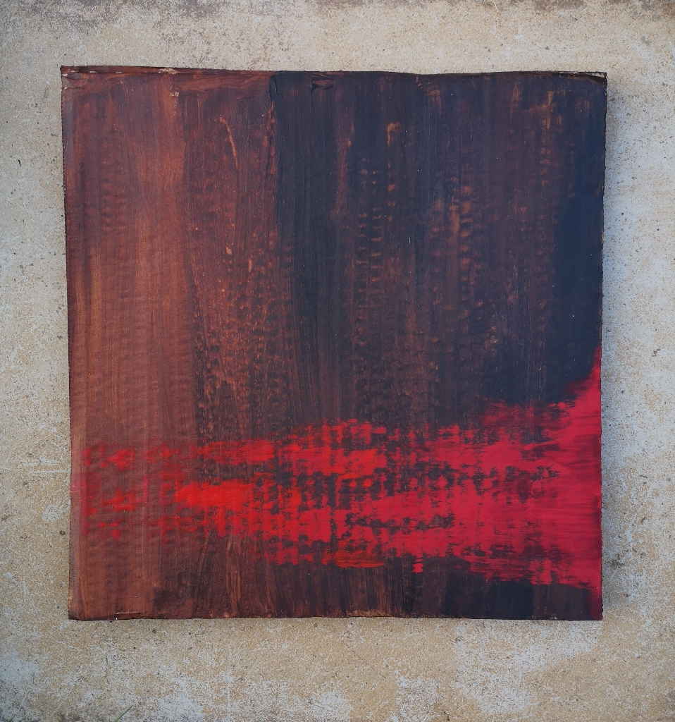 RED FLAMES acrylic on cardboard, 23 x 23 cm