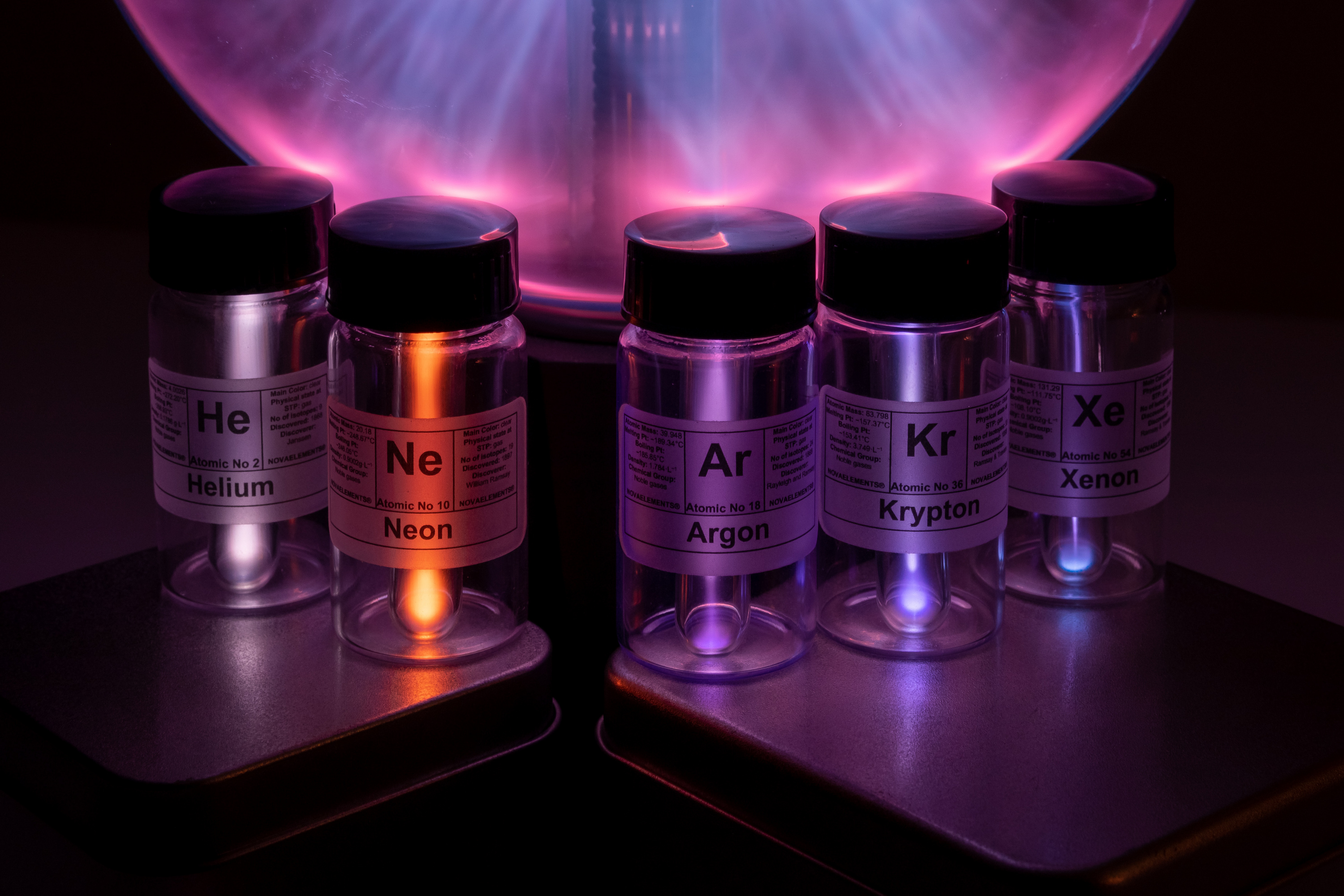 rarefied noble gases set, rarefied gases, rarefied helium ampoule, rarefied neon ampoule, rarefied argon ampoule, rarefied krypton ampoule, rarefied xenon ampoule