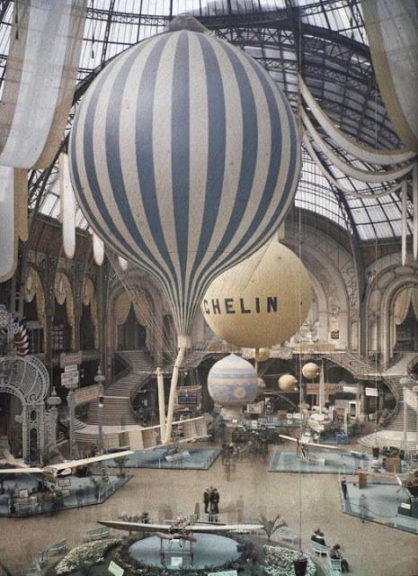 Grand Palais, 1909, montgolfières Michelin, Paris, musée Albert Kahn