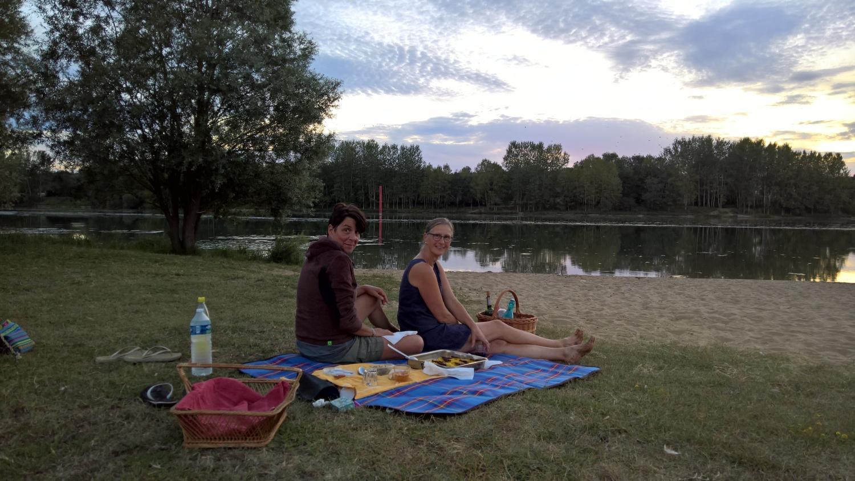 Picknick am Ufer der Saône