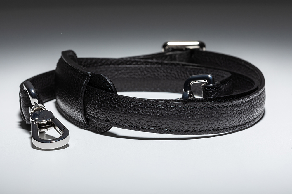 adjustable and removable leather shoulder strap with pad and snap hooks
