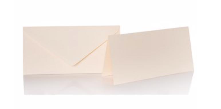 Blanko Klappkarte mit farbigen Umschlag im Set Din lang  Farbe creme