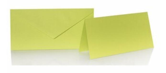 Blanko Klappkarte mit farbigen Umschlag im Set Din lang  Farbe Apfelgrün