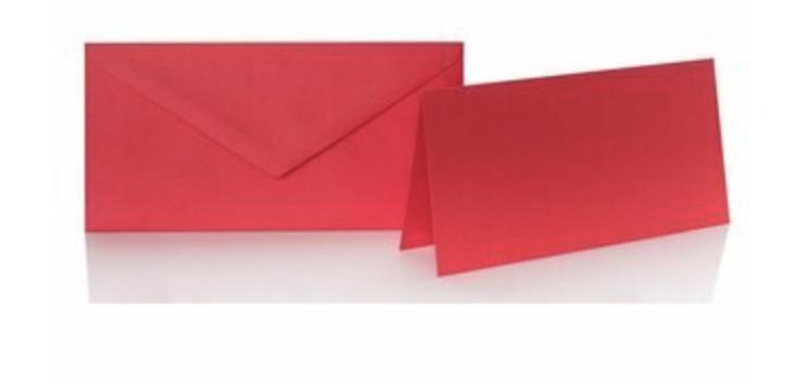 Blanko Klappkarte mit farbigen Umschlag im Set Din lang  Farbe rot