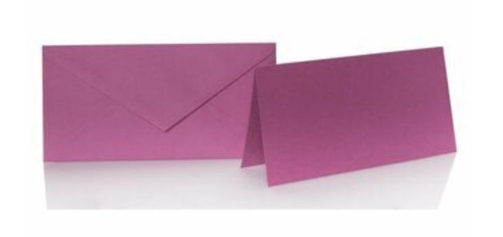 Blanko Klappkarte mit farbigen Umschlag im Set Din lang  Farbe Purpur