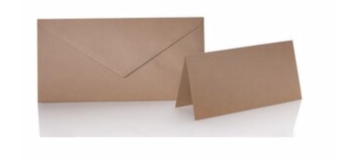 Blanko Klappkarte mit farbigen Umschlag im Set Din lang  Farbe Haselnuss
