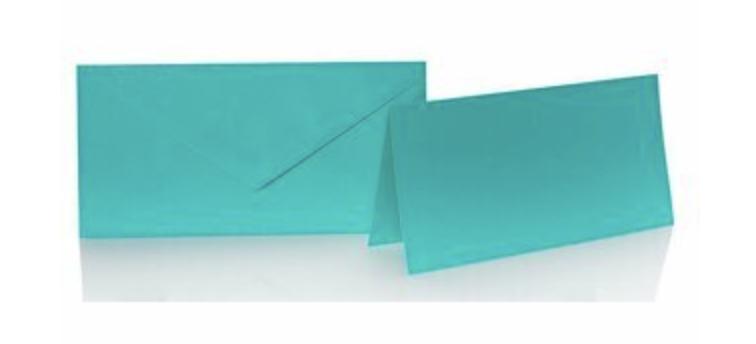 Blanko Klappkarte mit farbigen Umschlag im Set Din lang  Farbe mint/blau