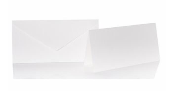 Blanko Klappkarte mit farbigen Umschlag im Set/ Din lang  Farbe Elfenbein