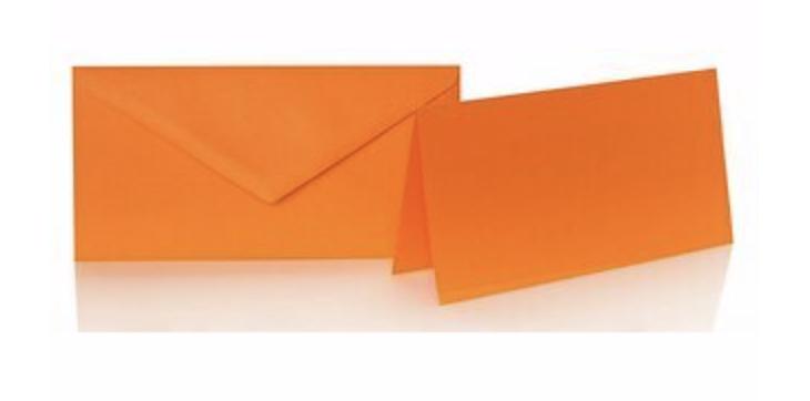 Blanko Klappkarte mit farbigen Umschlag im Set Din lang  Farbe orange