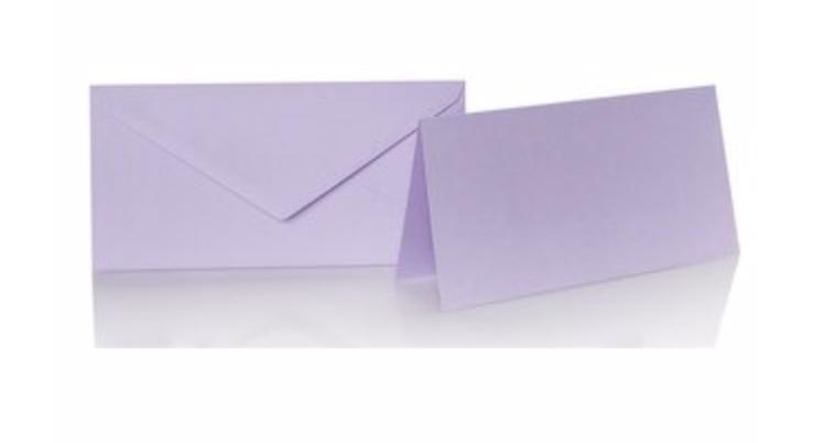 Blanko Klappkarte mit farbigen Umschlag im Set Din lang  Farbe Flieder