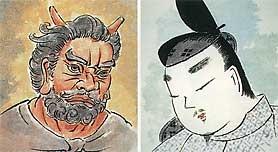 平安時代の鬼の顔と貴族の顔。    支配者(貴族)になった弥生人の北方系の顔は、日本的あるいは人相のよい顔とされ、被支配者として虐げられた縄文人の南方系の顔は、甚だしい場合は鬼の顔にさせられた。