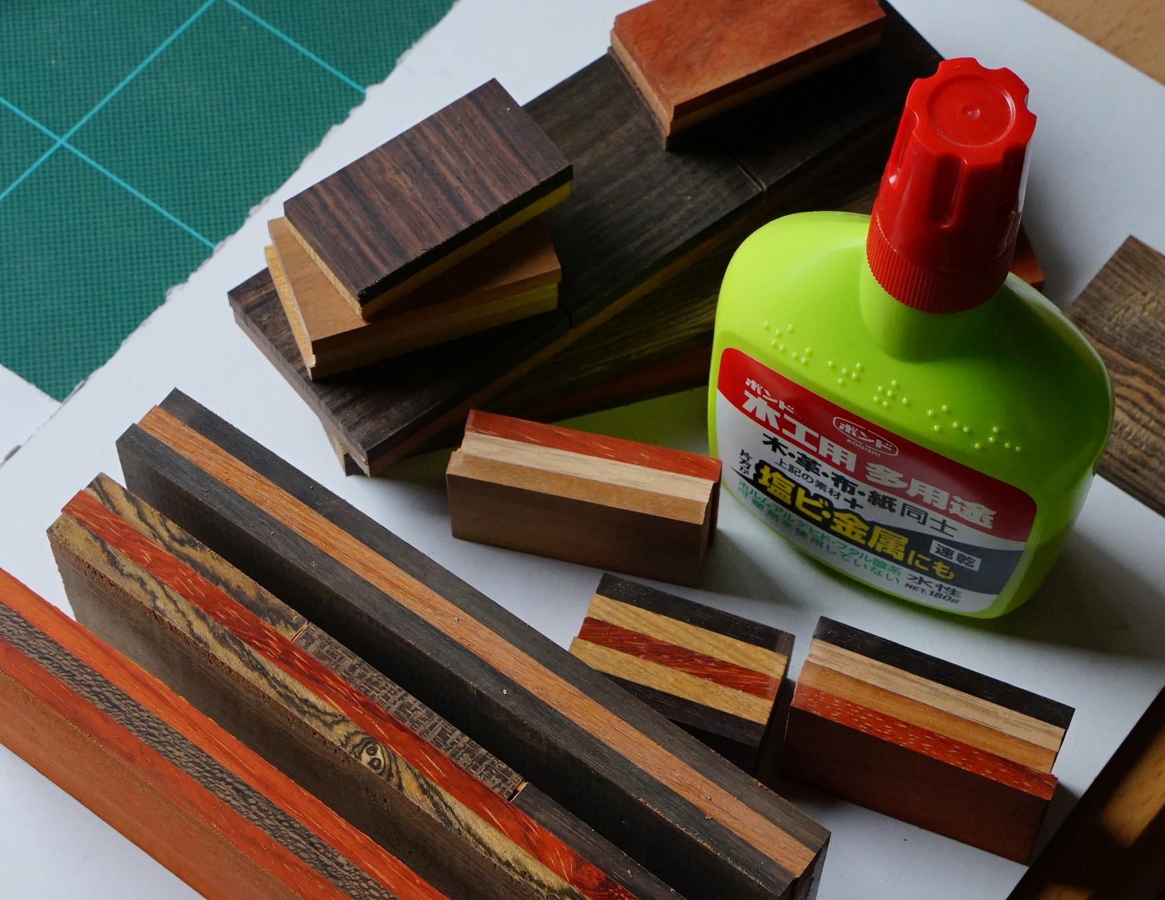 接着には強力木工ボンドを使用 黄緑色のボトルです
