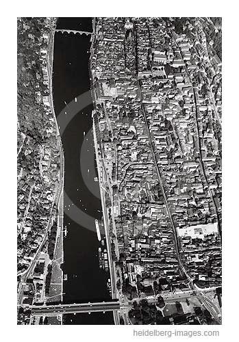 Archiv-Nr. L10_708 / Luftbild von Heidelberg und den Neckarufern 1964
