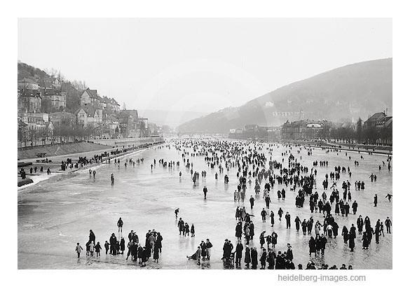 """Archiv-Nr. h3001 / """"Eisiger Sonntag"""" auf dem zugefrorenen Neckar 1929"""