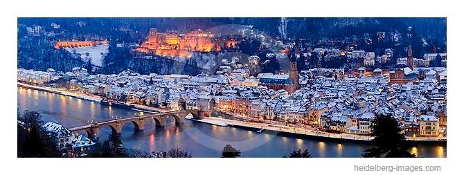 Archiv-Nr. hc2009242 | verschneites Heidelberg bei Nacht