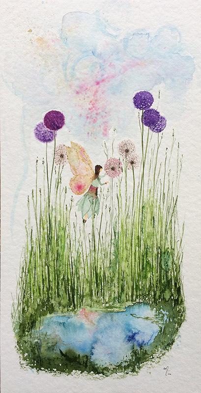 Elfe am Blütensee  ·  ausschließlich als individuelles Auftragswerk  ·  Aquarell  ·  Tusche  ·  20 x 40 cm  ·  300g Aquarellpapier  ·  Euro 95