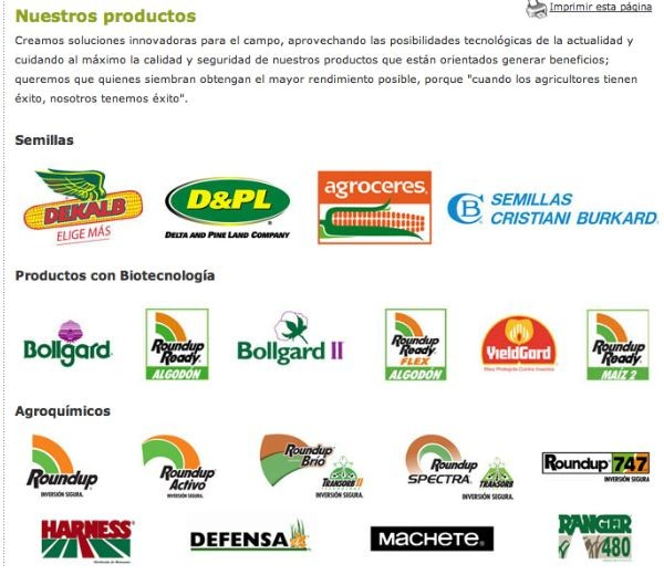 MARCAS DE PRODUCTOS MONSANTO SUPERVENENOSOS