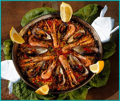 paella marisco Maiorca  Mallorca limon típica conejo coelho camarão gamba