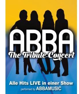 Plakat gelb/blau Siluetten Schriftzug-ABBA