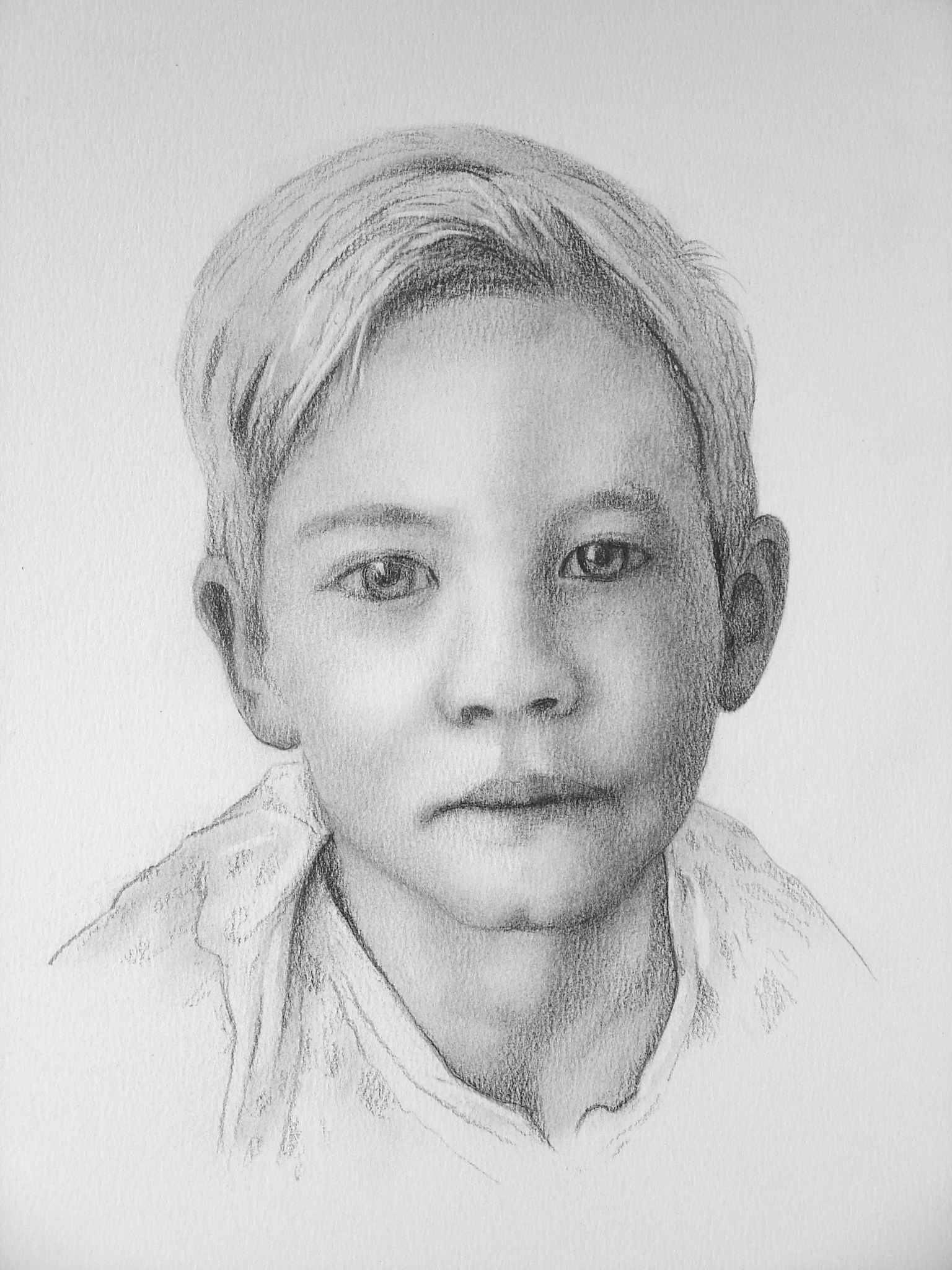 müder Junge -  Bleistift und Kohle