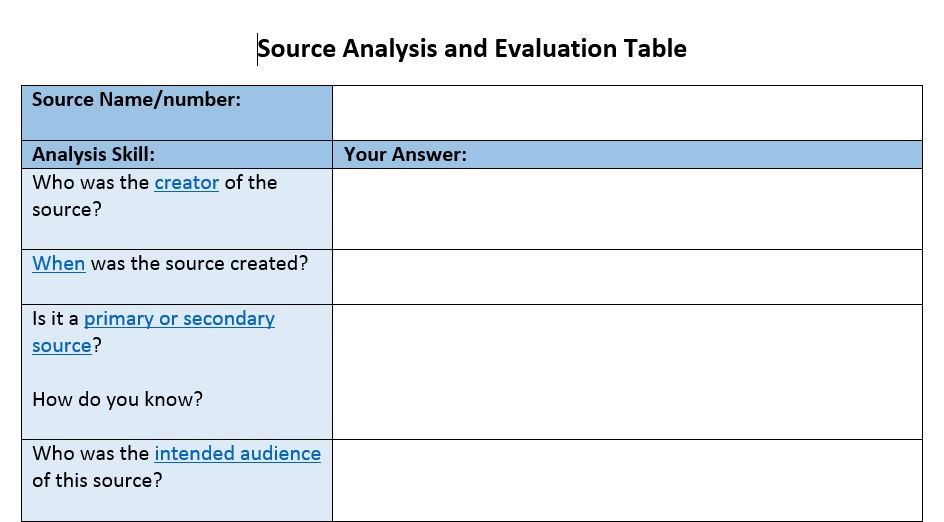 Digital History Resources History Skills – Primary and Secondary Sources Worksheet