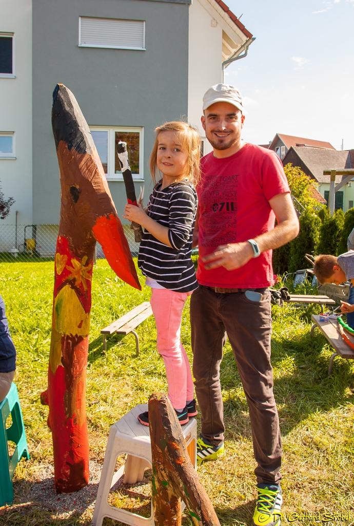 Benjamin Schwenger mit Töchterchen und Ober-Leitvogel Bruno