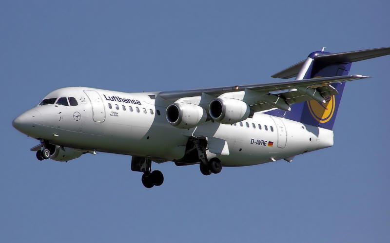 Unser Flugzeugtyp von München nach Dresden: AVRO RJ85 (Bild: Lufthansa)