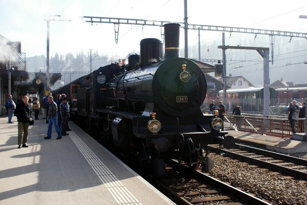 In Langnau eingetroffen. Der Zug mit der B 3/4.