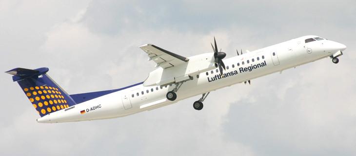 Unser Flugzeugtyp Dash 8 Q400 (Bild: Augsburg Airways)