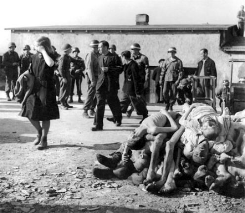 Margaret Bourke White - German civilians made to face their nation's crimes, Buchenwald 1945