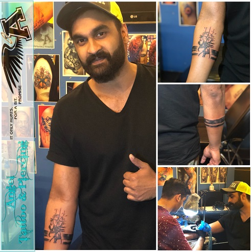brahamanandam son tattoo, gautam kanneganti tattoo, telugu film actor tattoos