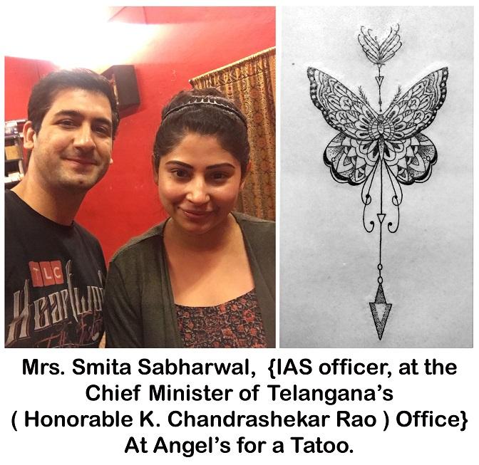 Mrs. Smita Sabharwal, IAS officer, Telangana state, at Angel's for a tattoo. 21.12.16