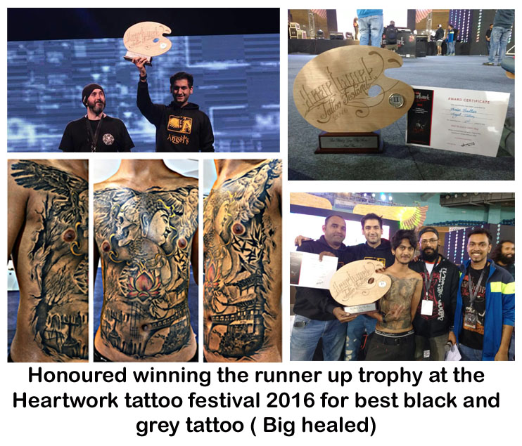 Runner up award for best black and grey tattoo (healed) at the, Heartwork tattoo festival 2016, new delhi.