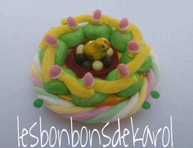 NID DE PAQUES VERT - 15 € (255 gr bonbons et chocolat - diam 20 ht 10 cm)