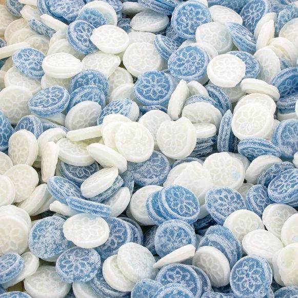 Menthe ronde bleue et blanche - 3 €