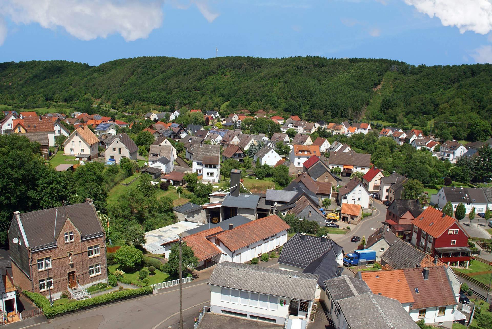 Blick vom Kirchturm auf den Ortskern