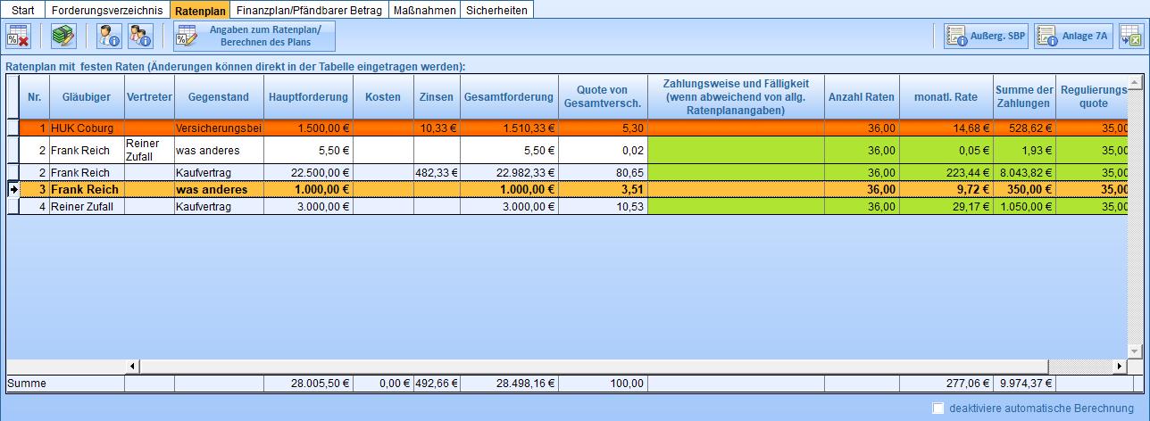 Automatisch erstellter Ratenplan. Die angezeigten Spalten hängen von der Art des Plans ab ( (Werte in grünen Spalten können direkt in der Tabelle bearbeitet werden)