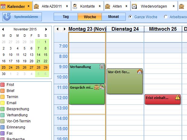 Der interne Kalender kann eigenständig oder in Verbindung mit einem Google-Kalender laufen
