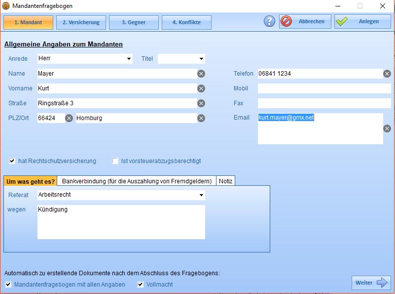 Digitaler Mandantenfragebogen. Automatische Anlage der Kontakte, der Akte und der Beteiligten.