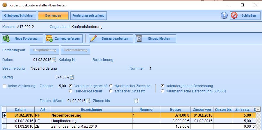 Erfassen der Buchungen zu einer Forderung. Einträge für wiederkehrende Zahlungen können automatisch erstellt werden.