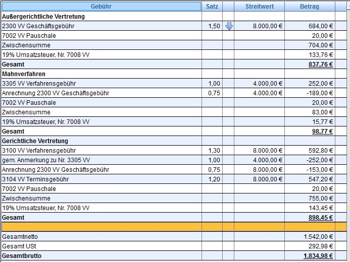 Weiteres Beispiel einer automatisch(!) erstellten Anrechnung