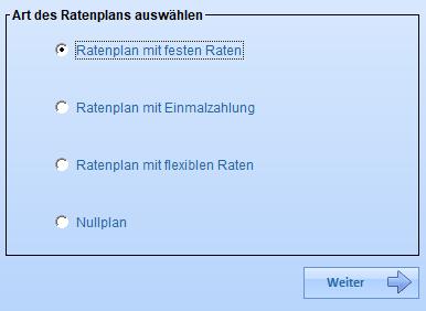 Auswahl der Ratenplanart