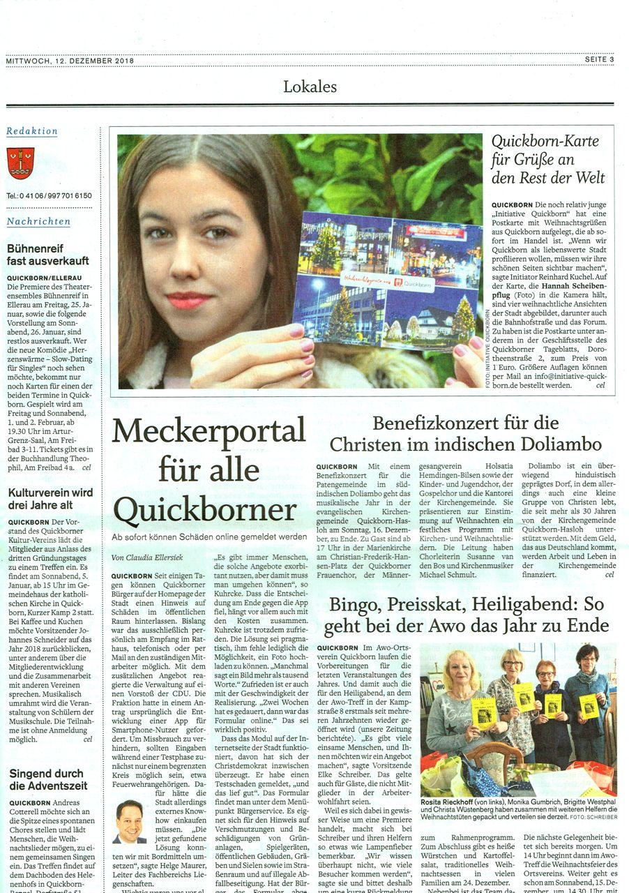 Quickborner Tagblatt v. 12. Dezember 2018