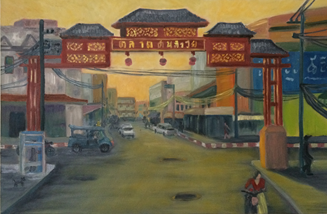 """Warorot Marlet, Chiang Mai"" 2017 . Oil con canvas. 40 x 70 cms. Chiang Mai."