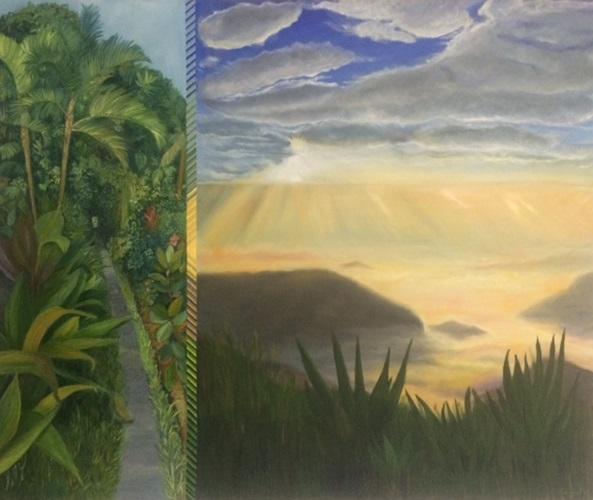 """""""Pu chi fa mountain"""" 2017. Oil con canvas. 100 x 120 cms."""