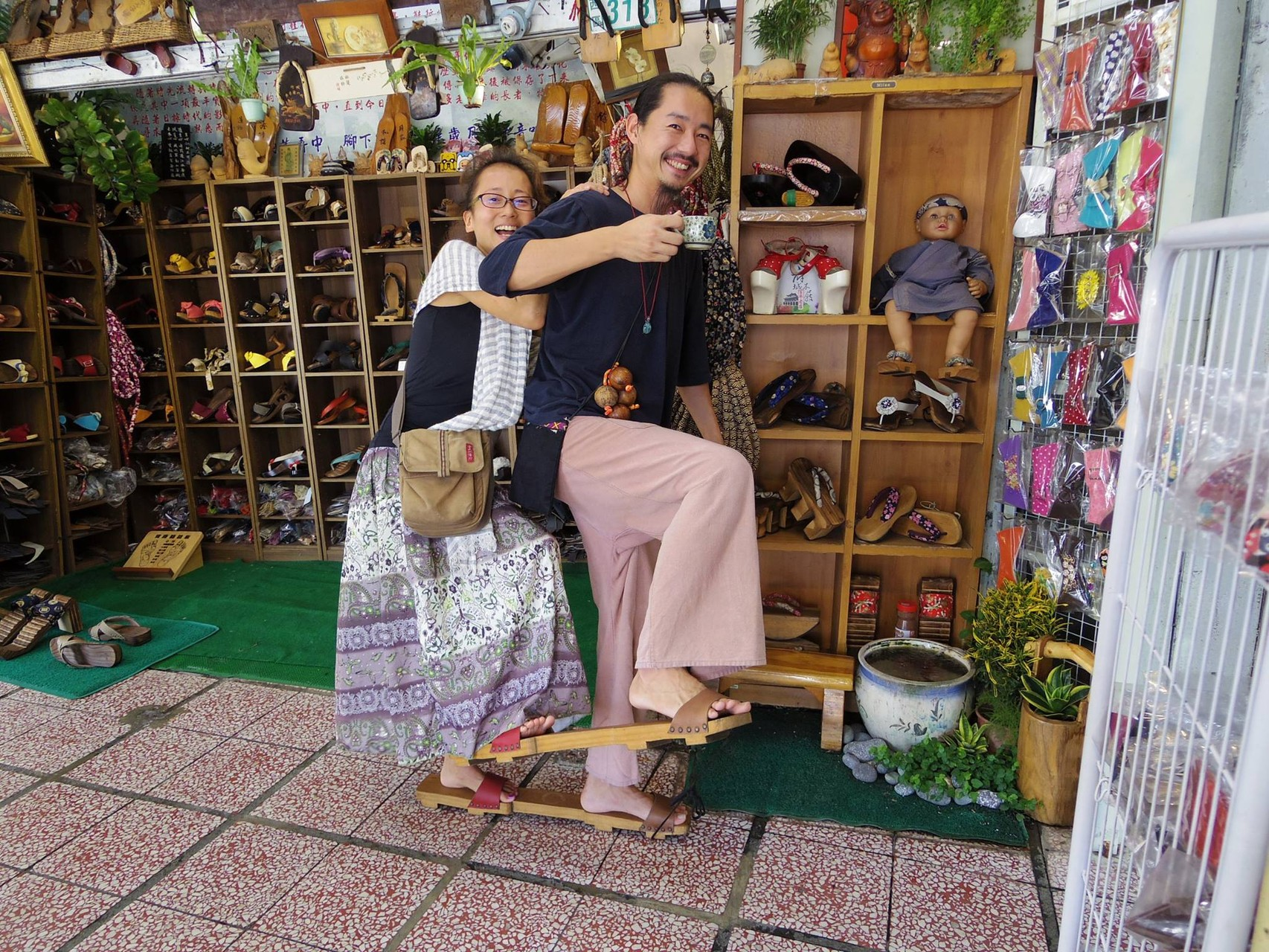 in traditional shoes shop in Tainan