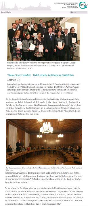 Ausbildung Gästeführer Frankfurt BVGD
