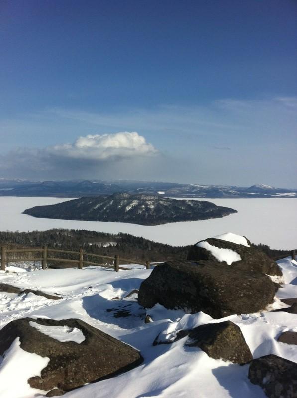 冬の屈斜路湖美幌峠から