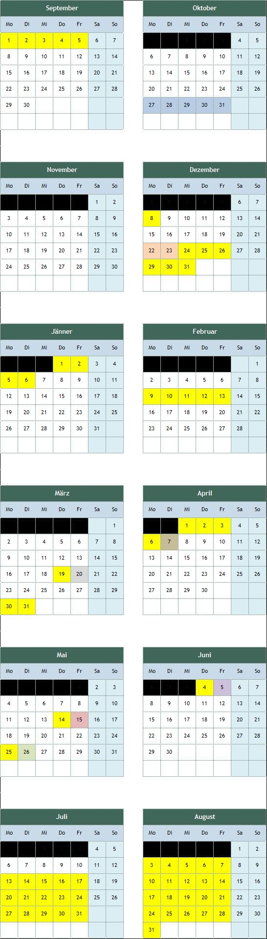 Kalender Varianten für schulautonome Tage